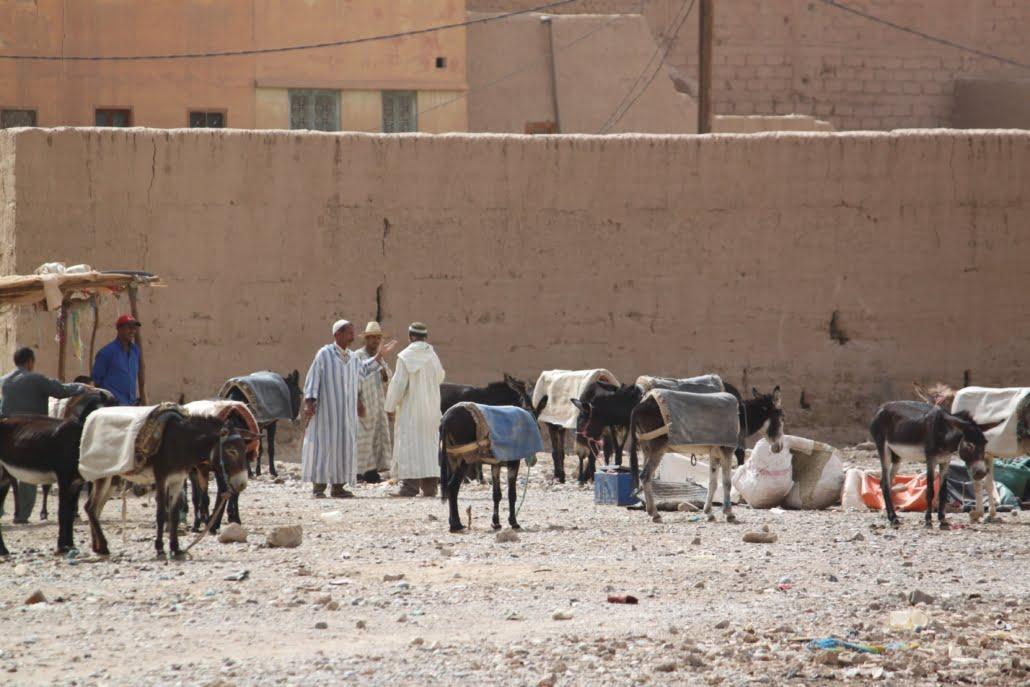 Lokale markt onderweg naar Sahara Marokko
